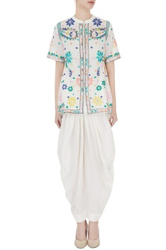 Ivory thread embroidered blouse with patiala pants