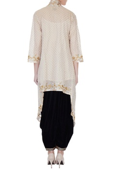 Beige spaghetti kurta with zari embroidered cape & patiala pants