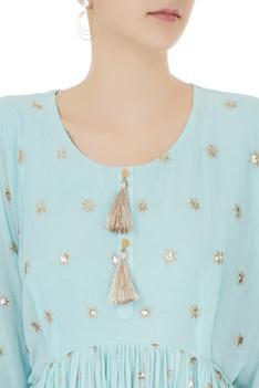 Blue ruffle layer zari embroidered short kurta with dhoti pants