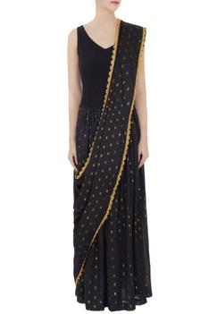 Black cotton concept saree dress