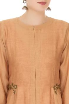 Beige chanderi jacket with mesh slip dress