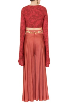 Red mesh printed flared sleeve top with embroidered sharara pants
