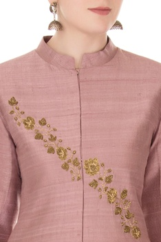 Lilac embroidered raw silk jacket with printed pants
