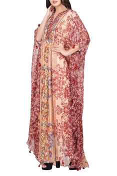 Multi-colored viscose crepe printed kaftan dress