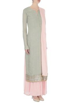Baby pink & pale grey chinon mukaish work kurta with sharara and dupatta