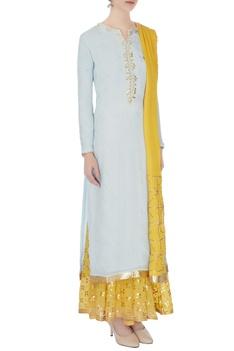 Sky blue & yellow gota work kurta with skirt and dupatta