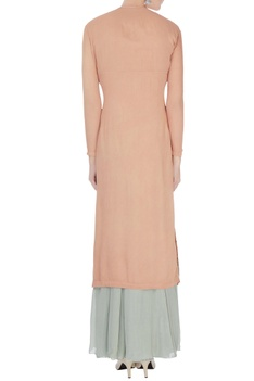 Peach & grey chinon mukaish work kurta with sharara and dupatta
