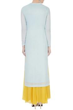 Ice blue & yellow chinon mukaish work kurta with skirt and dupatta