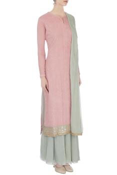 Pink & pale grey chinon mukaish work kurta with skirt and dupatta