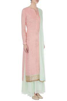 Pink & light blue chinon mukaish work kurta with skirt and dupatta