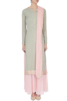 Pale grey & baby pink chinon mukaish work kurta with skirt & dupatta