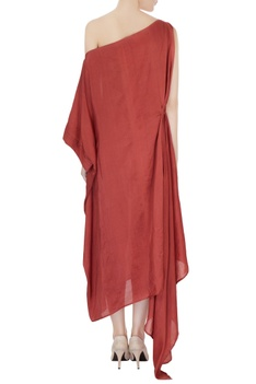 Dull red dupion silk pleated one-shoulder dress
