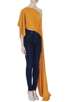 Mustard tussar georgette solid one-shoulder blouse