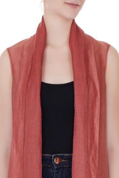 Dull red satin linen square draped jacket