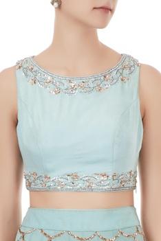 Powder blue chiffon, silk & net mukaish embroidered lehenga with blouse & dupatta