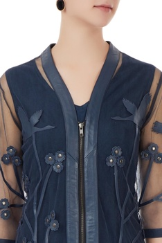 Slate grey leather applique zipper jacket