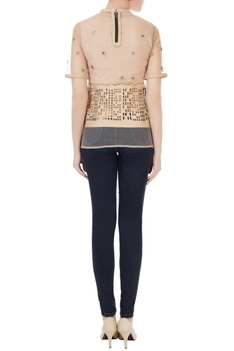 Beige tulle net blouse with leather applique work