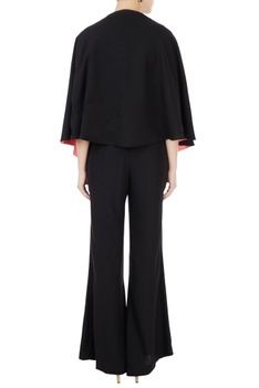 Black korean crepe jumpsuit with cape