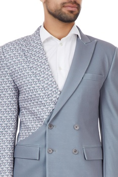 Grey dual printed double breasted jacket