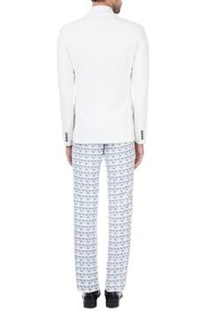 White & grey printed suit set