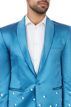 Bright blue geometric poly-satin tuxedo jacket with pants