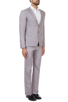 Grey printed linen suit