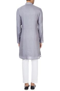 Grey geometric printed long silk kurta