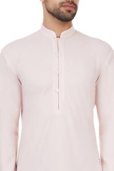 Light pink polyester pixel printed kurta