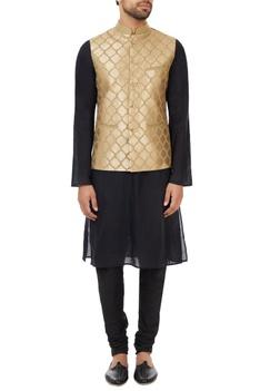 Beige poly-silk gota hand-embroidered nehru jacket