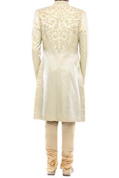 Cream linen silk applique handwork sherwani with churidar