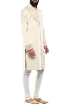 Cream velvet swarovski detailed sherwani with churidar