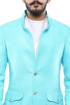 Light blue matka silk convertible collar jacket