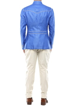 Blue linen piping detail jacket