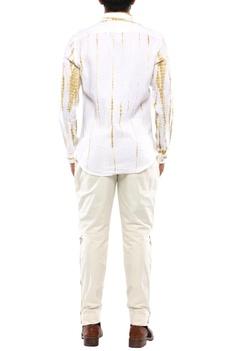 Beige linen streak printed shirt