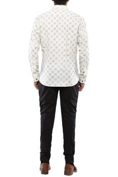 Cream & green linen block print shirt