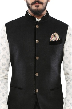 Black matka silk half jacket