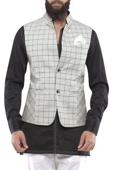 Black & white check nehru jacket