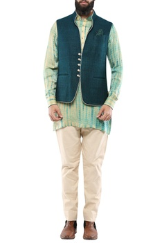 Green handloom matka silk nehru jacket