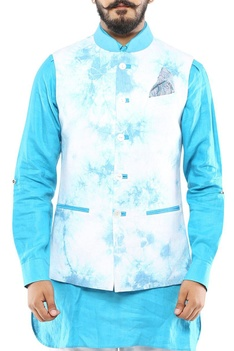 Turquoise blue & white marble printed nehru jacket
