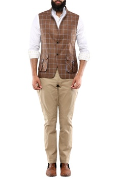 Brown check linen jacket with patch pockets