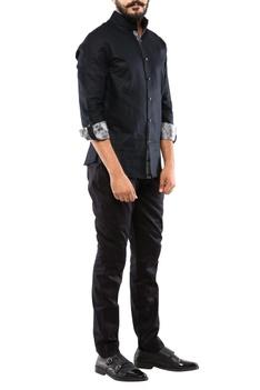 Black linen kantha embroidered shirt