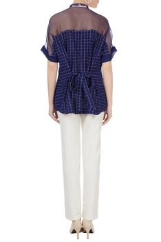Indigo handwoven cotton hand embroidered yoke & chequered shirt