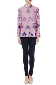 Lilac pink cotton silk leaf print shirt with organza detail