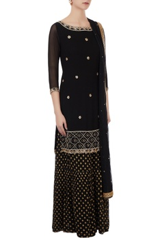 Black georgette hand embroidered kurta with benarasi georgette sharara pants & dupatta