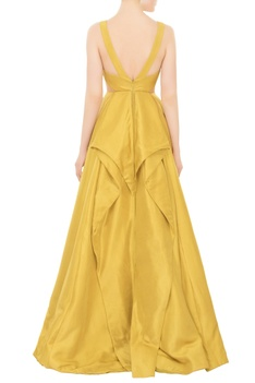 Chartreuse yellow flared ball gown