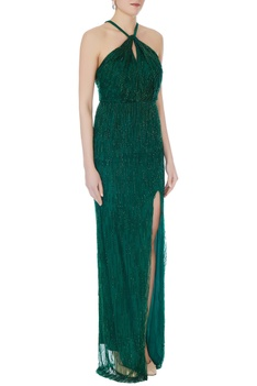 Emerald green halter gown with high slit