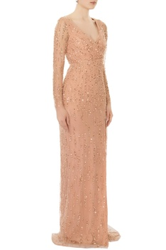 Blush pink hand embroidered bead & sequin gown