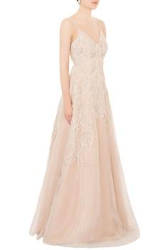 White organza hand-embroidered spaghetti strap flared gown