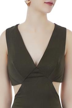Olive green cutout jumpsuit