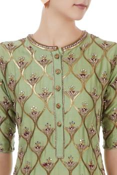 Green & red chanderi, tafetta & net hand crafted nakshi, white pearl & mirror work kurta with palazzos & dupatta